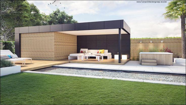 ECO Tuinarchitectengroep | 3D projecten | Loungetuin met vijver Antwerpen