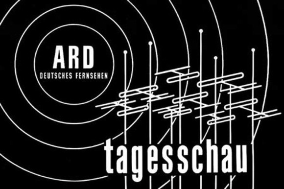 ARD - TV news in black and white.