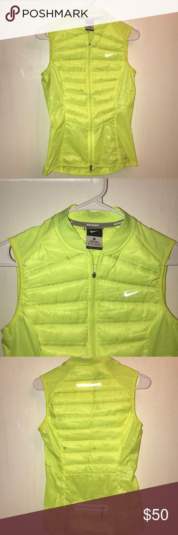 Nike Neon Yellow Vest Neon yellow XS Nike Vest, BRAND NEW WITHOUT TAGS. It was sadly too small for me and I never have worn it. Has a pocket in the back for keys or etc :) Nike Jackets & Coats Vests