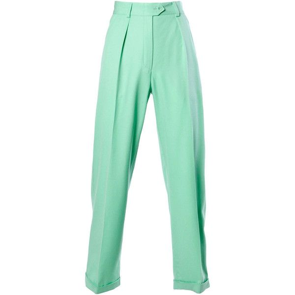 Preowned Escada Vintage 1990S 90S Mint Green High Waisted Wool... ($225) ❤ liked on Polyvore featuring pants, green, escada, highwaisted pants, high-waisted pants, woolen pants and mint pants