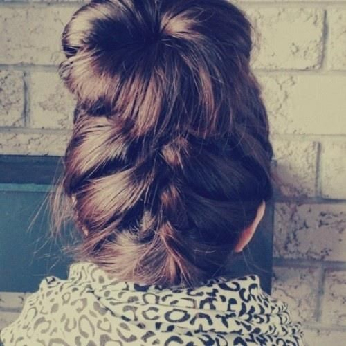 braid bun: Hair Beautiful, Buns Hairstyles, Long Hair, French Braids Buns, Girls Hairstyles, Messy Buns, Hair Style, Socks Buns, Braids Hair