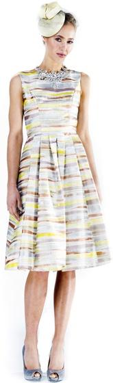 Liza Emanuele Hand Painted Silk Pleat Dress (silver/stripe) $649