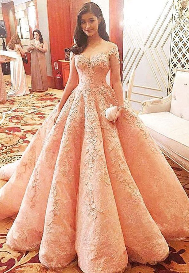 Gorgeous Short Sleeve Pink Prom Dress 2016 Lace With Train Appliques _High Quality Wedding Dresses, Quinceanera Dresses, Short Homecoming Dresses, Mother Of The Bride Dresses - Buy Cheap - China Wholesale - 27DRESS.COM
