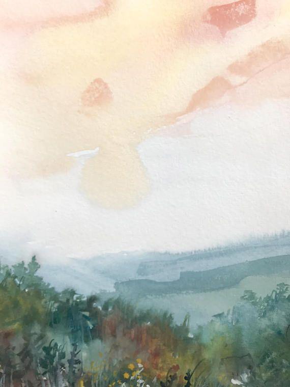 Original Watercolor Painting Landscape Fine Art Nature In