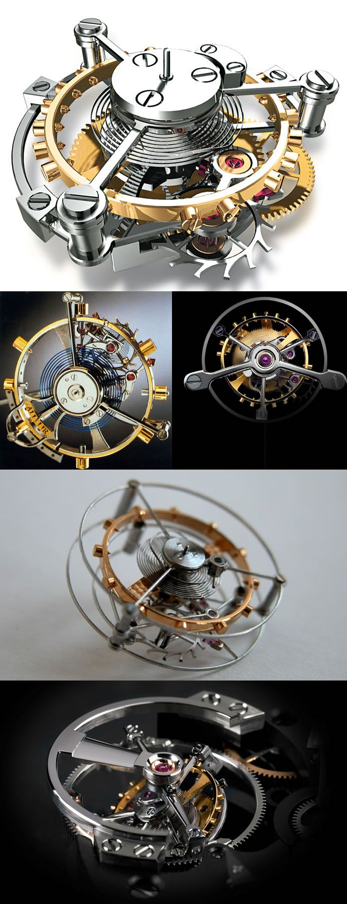 Tourbillon is an addition to the mechanics of a watch escapement. Developed around 1795 by the French-Swiss watchmaker Abraham-Louis Breguet from an earlier idea by the English chronometer maker John Arnold, a tourbillon aims to counter the effects of gravity by mounting the escapement and balance wheel in a rotating cage, to negate the effect of gravity when the timepiece (thus the escapement) is stuck in a certain position.