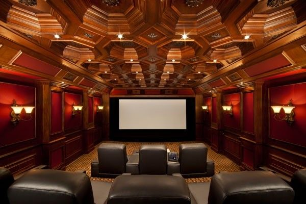 I love these over-the-top all wood and red velvet theaters!  This is how mine would be if I had a choice.  I know I love the themes but this is awesome