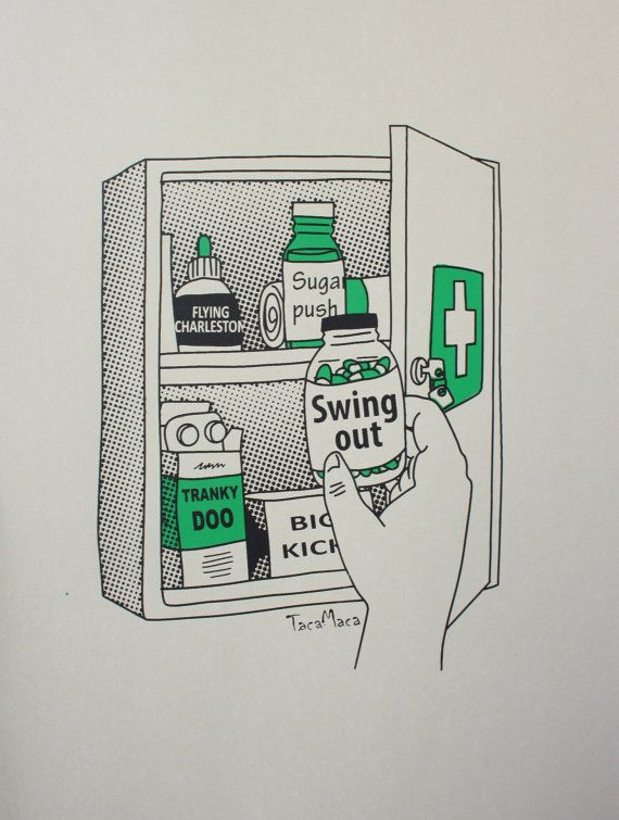 Funny fine art screenprint: Swing pills. Open edition.  Printed on 180gr/m ecru card stock. It fits an 11.3 x 15.2 IKEA frame. Each print is unique due to the nature of the printing process and may vary slightly between prints.  Frame not included.  Signed and editioned on the back of each print.