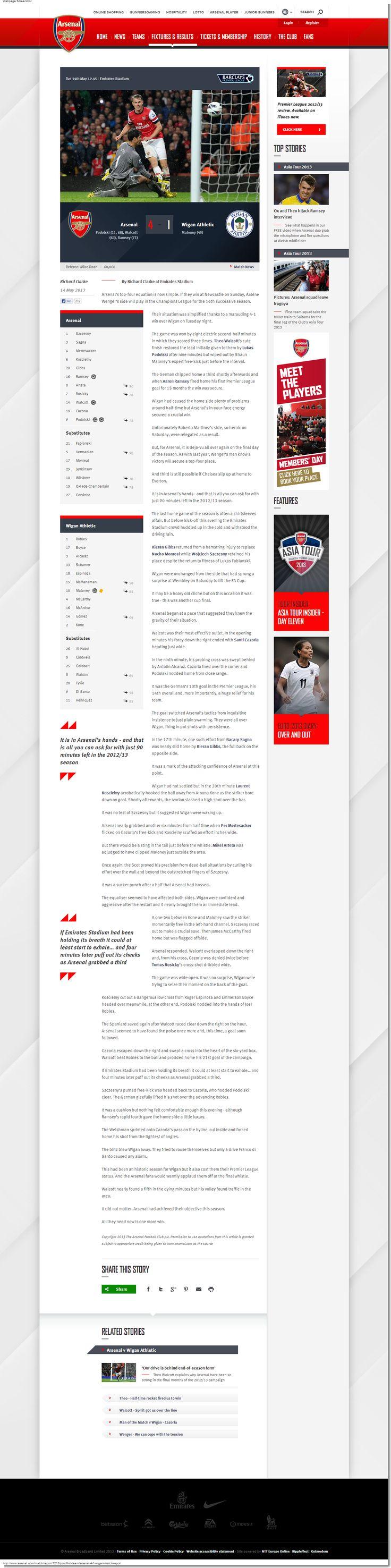 Arsenal club site - Match report