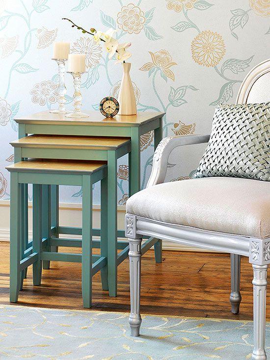 Diy Furniture Makeovers Gold Leaf Nesting Tables And