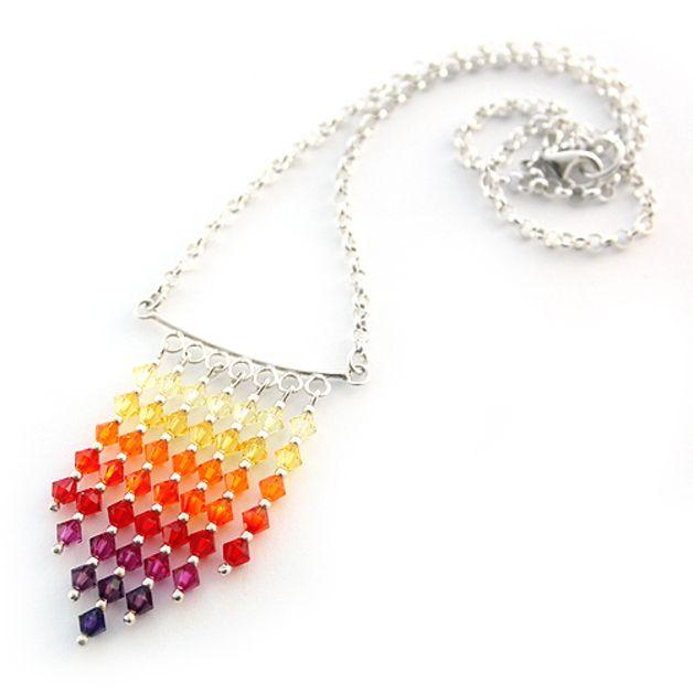 Rainbow Necklace made of Swarovski sparkling crystals.