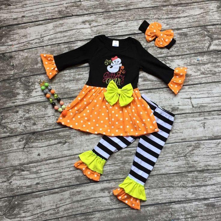 Aliexpress.com: Comprar Niñas trajes de calabaza de Halloween de los niños pant sets stripe ruffle pant trajes niñas ropa de fiesta de Halloween con accesorios de clothing motif fiable proveedores en Princess and Pea