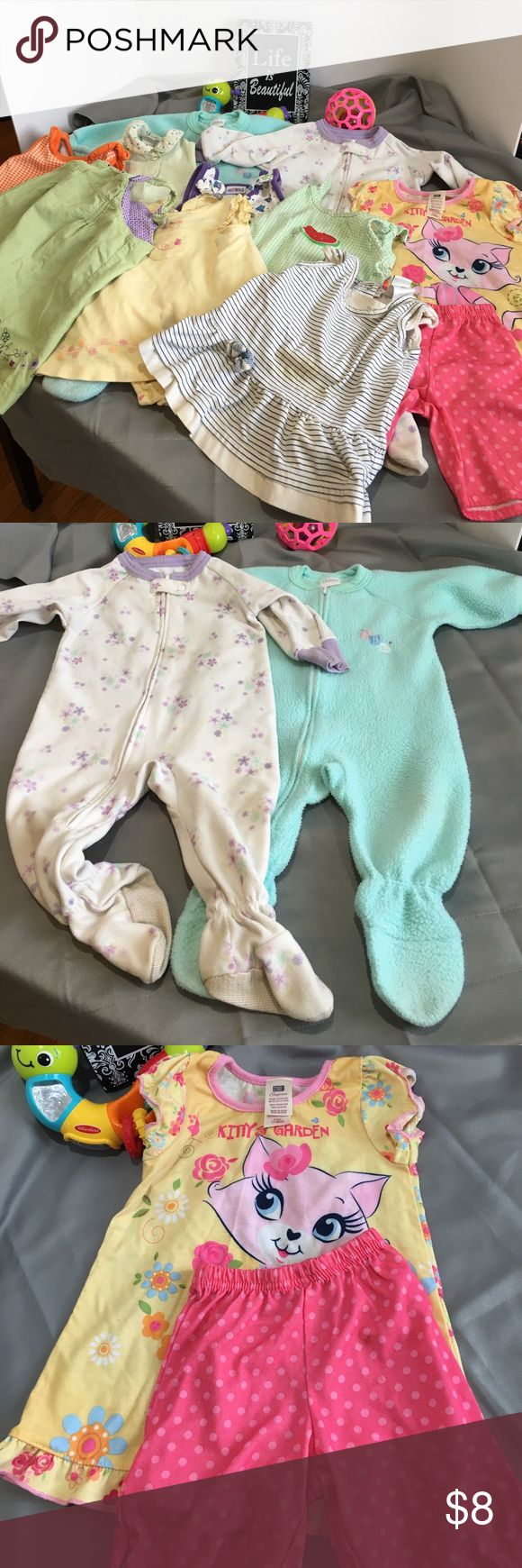 💰💰12 piece 12 month bundle with staining All items have stains. Blue footies have a very small stain on back. White footies have noticeable stains. Kitty pjs has pilling. Shorts have slightly noticeable stains. Mint green 2pc has light stain. Orange outfit has staining. Yellow outfit has dark stain. Watermelon outfit has light stains. Purple and white outfit has stains on back. Blue and white dress has dark stain on front. Mint green dress has looks like ink stains, small on front. Please…