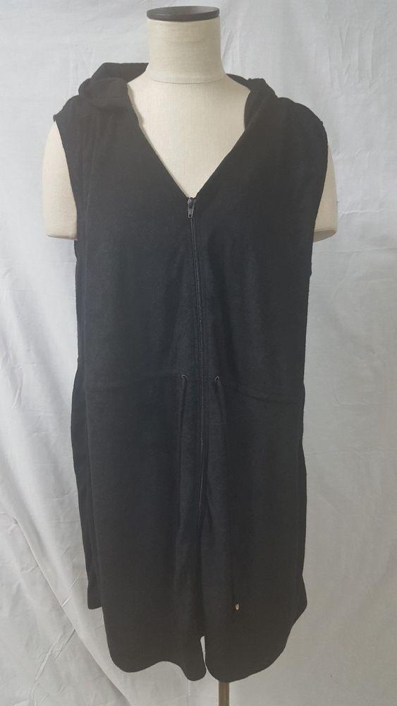 f8ed7c09385c9 Time and Tru Black Swim Beach Cover Up Size 2X 20W-22W Zipper Hood Pockets  #TimeAndTru #CoverUp