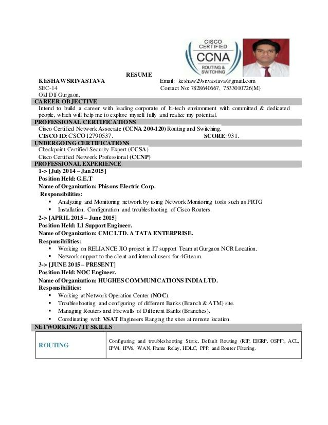 Ccna Resume Dekstop Resume Sample Resume Cover Letter