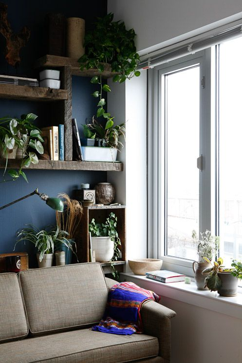 Normally beige couches are too boring, but I like it paired with the deep blue walls and plants.