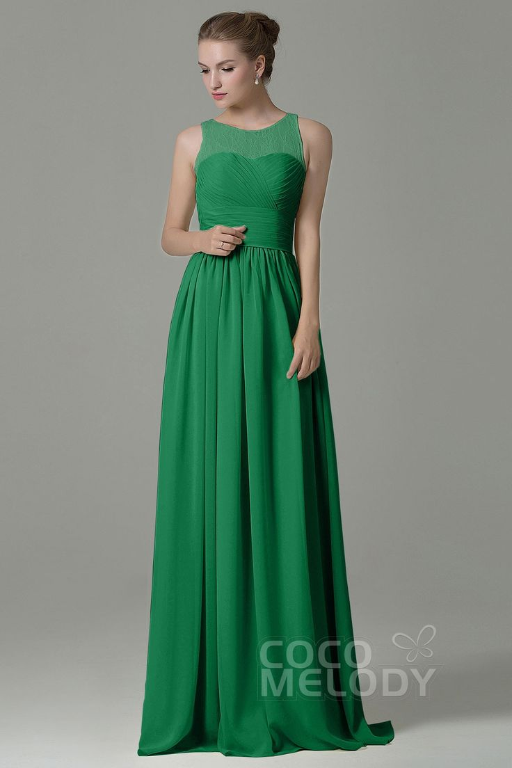 Hot Sale Sheath-Column Illusion Natural Floor Length Lace/Chiffon Flan Sleeveless Zipper Bridesmaid Dress COZK16005 #bridesmaiddresses #bridesmaids #customdresses #cocomelody #greendresses