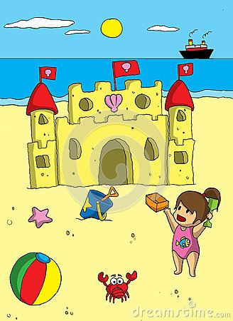 A girl was build a sand castle when she was vacationing at the beach