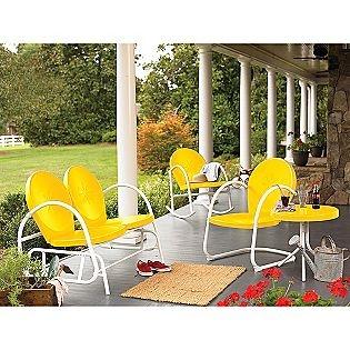 Garden Oasis -Retro Steel Clam Glider - Yellow