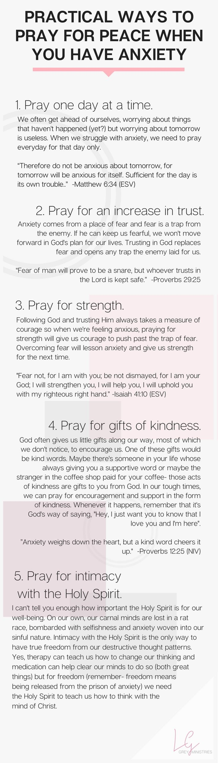 //Five prayers to pray for when you're struggling with anxiety. What does God say about anxiety anyway? Should Christians be anxious? Read more or PIN for later at LeahGrey.com