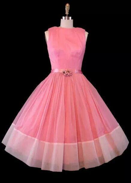 Vestido Vintage 1950s Curto Rosa Chiclete Aplicação Cristais