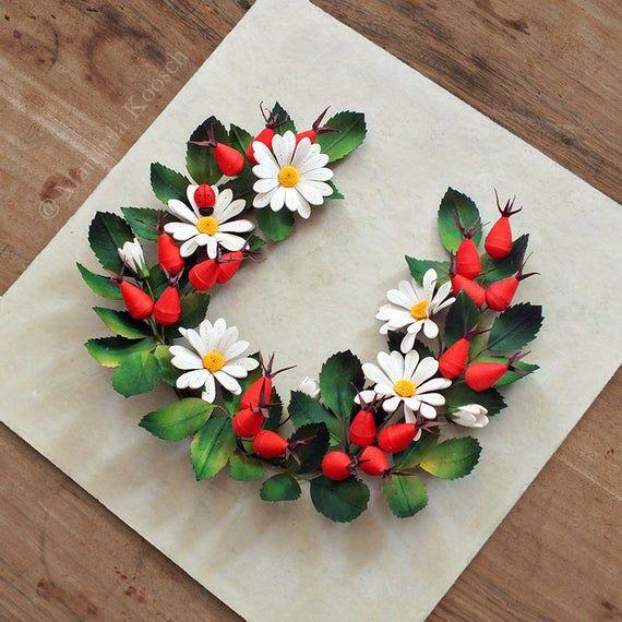 Paper Quilling Daisy Rosehip Wreath Summer Wild Flowers Wall Art