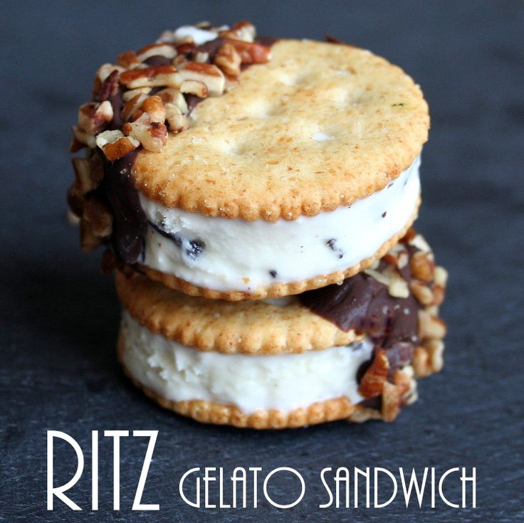 EASY RITZ Gelato Sandwiches.  The only hard part is waiting for them to freeze!  @RITZ Crackers   @Allrecipes