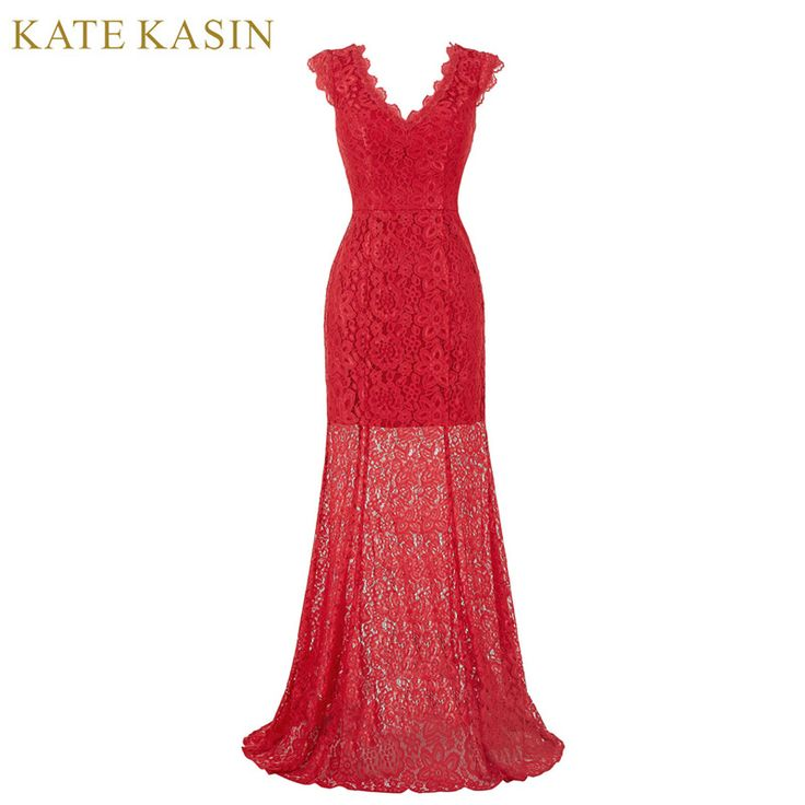 Kate Kasin Red Lace Evening Dresses Long Banquet Prom Dress 2017 Robe De Soiree Cap Sleeve Gown Special Occasion Dresses 0190