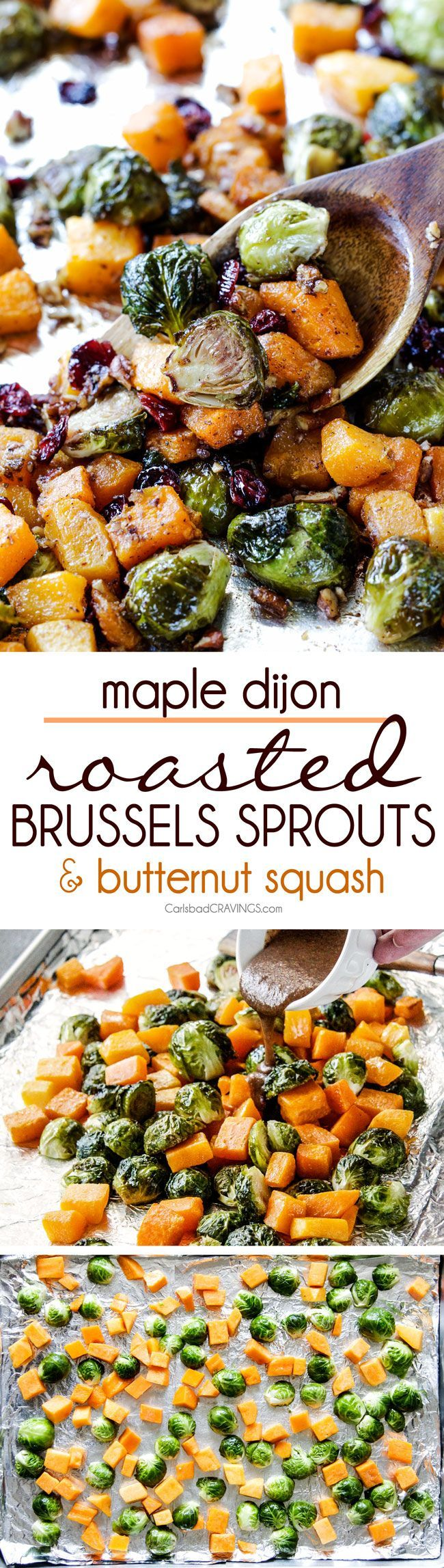 Easy Maple Dijon Roasted Brussels Sprouts and Butternut Squash tossed with cranberries and bacon for the BEST combo ever! tangy, salty, sweet, crunchy, crispy! perfect for Thanksgiving and Christmas, easy enough for everyday!