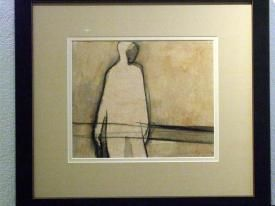 """""""Solitary Figure"""", c1966, Richard Ciccimarra, charcoal and watercolour on paper, 7 x 9 in., Victoria, British Columbia."""