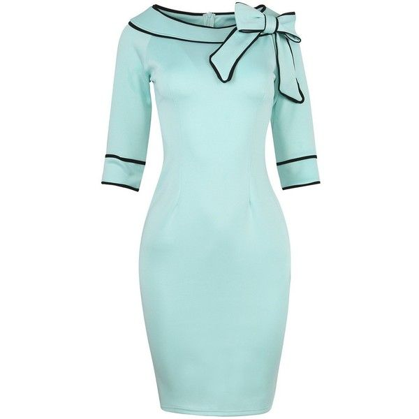 Women's 1950s Retro 3/4 Sleeve Bow Cocktail Party Evening Dress Work... (£21) ❤ liked on Polyvore featuring dresses, holiday cocktail dresses, light blue cocktail dress, evening dresses, blue evening dresses and pencil dress