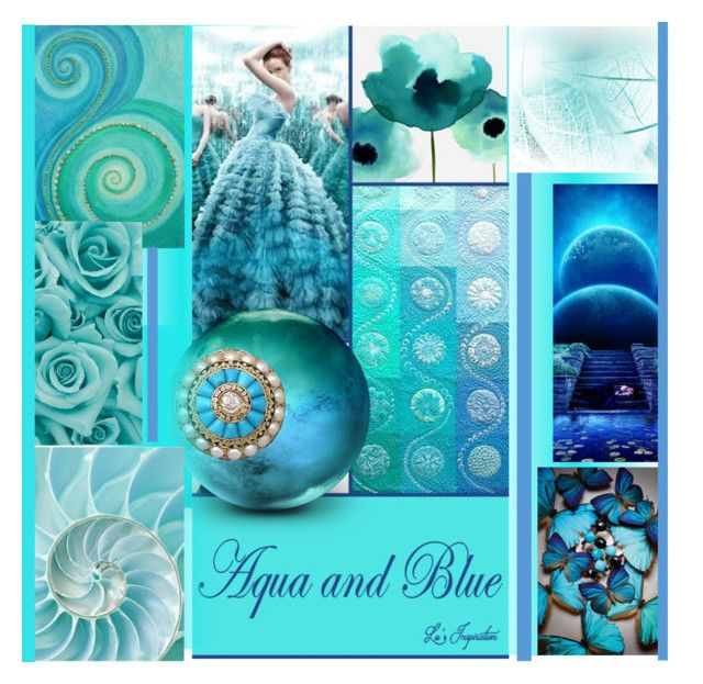 Aqua & Blue Collage by evachasioti on Polyvore featuring art and MatchWorkCollageArtGroup