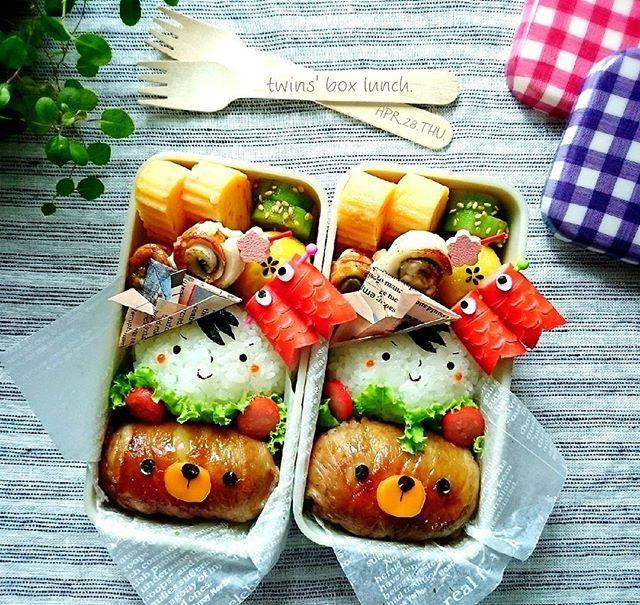 """♤ twins′ box lunch ♡ APR.28.THU.. ପ ꒰⑅ ॢ ・ ・ 少し早いけど、、、 今日は """" こどもの日 """" お弁当ぉ~♩ᵕ̈ ・ ・ 息子っち→ウインナーの鯉のぼりに大ハシャギ だから~カバン振り回すなっつーの‥ (꒦໊ྀʚ꒦໊ི ) ՞՞ ・ ・ #twins#boxlunch#lunch#昼食#お弁当#おべんとう#obento #幼稚園弁当#キャラ弁#デコ弁#お弁当楽しもう部#たこアプリ #子供の日#こどもの日#鯉のぼり#こいのぼり#兜#かぶと #熊#くま#クマさん#顔にぎり#お昼が楽しみになるお弁当  #KAUMO#KURASHIRU#ベジフルスタイル#クッキングラム #LIN_stagrammer#delistagrammer#デリスタグラマー"""