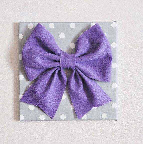 TWO Wall Hangings Large Lavender Bow on Gray with by bedbuggs