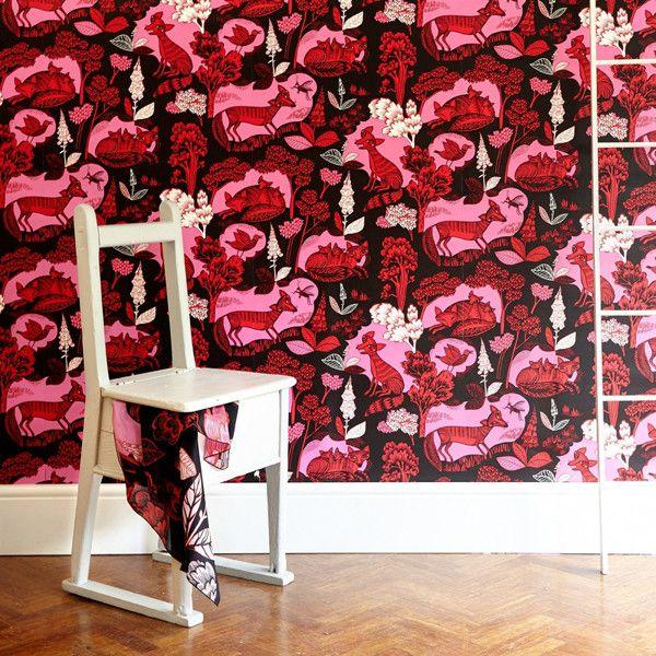 Fox & Cubs wallpaper - Red Swatch – Lush Designs