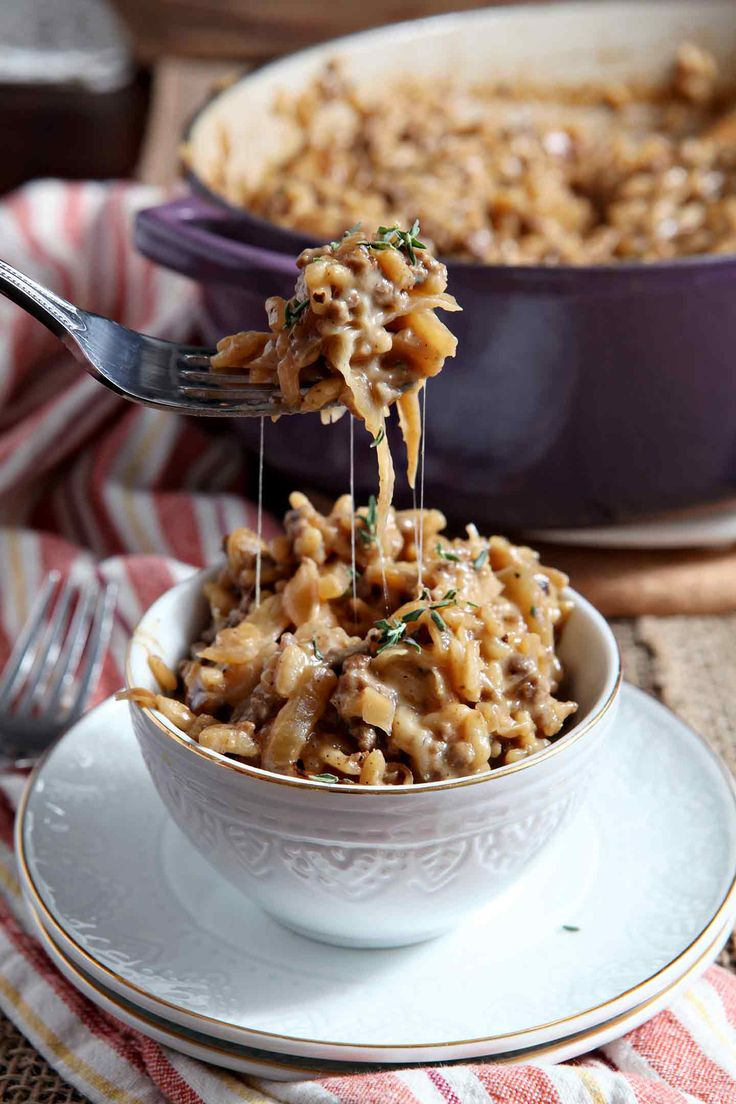 Celebrate the (impending) arrival of fall with comforting, decadent French Onion Risotto! A twist on the soup, this one-pot risotto really hits the spot. #spon