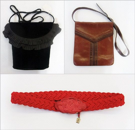 Yves St Laurent brown leather handbag with punched decoration, Yves St Laurent black velvet evening bag and a red Yves St Laurent rope pattern silk belt Estimate £100.00 to £150.00 (Lot no: 214 in sale on 05/08/2014) The Cotswold Auction Company