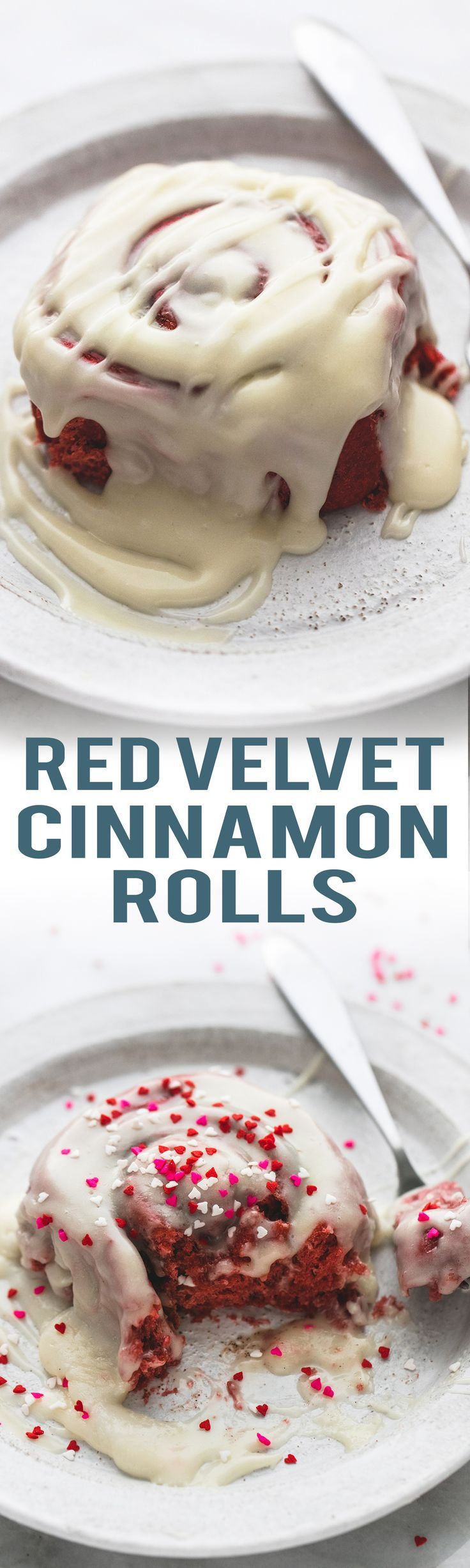 Super fluffy Red Velvet Cinnamon Rolls with Brown Butter Cream Cheese Frosting | lecremedelacrumb.com
