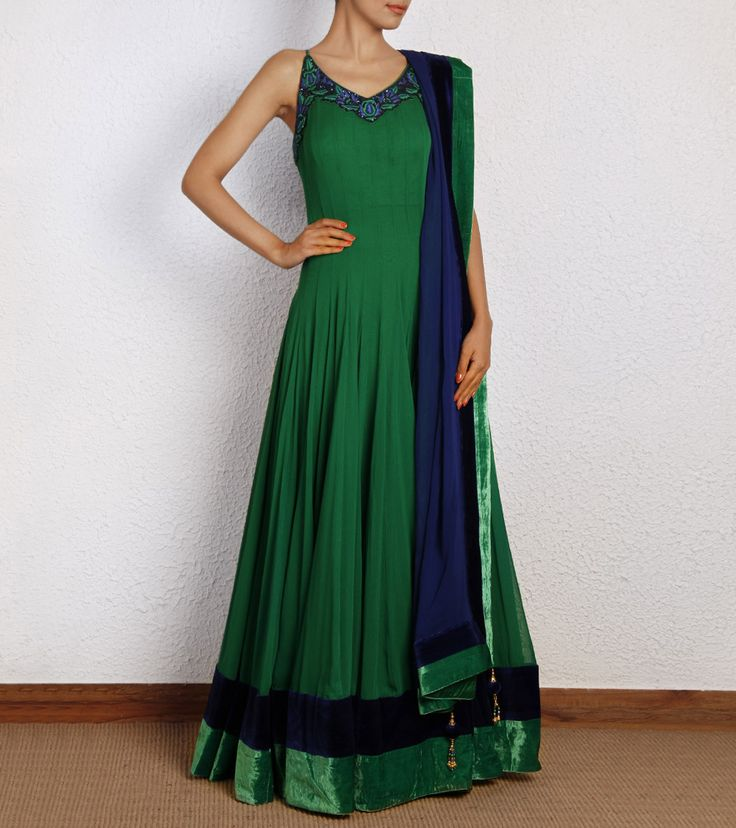 Green Pure Georgette Anarkali with Zardozi
