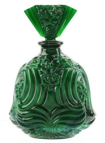 Antique Art Deco Molded Glass Perfume Bottle......LOVE!