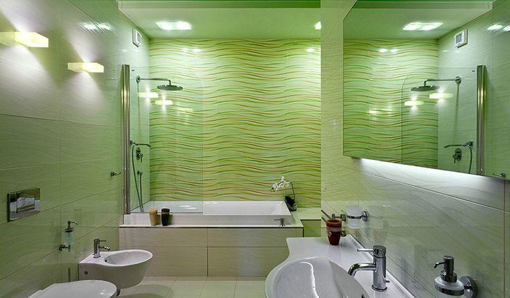 <p>Автор проекта: Оксана Брагина</p> <p>Небольшая ванная комната отделана плиткой цвета весенней зелени. Кроме того, плитка имеет волнистый рисунок. На этом рельефном салатовом фоне отлично смотрится белоснежная сантехника.</p>