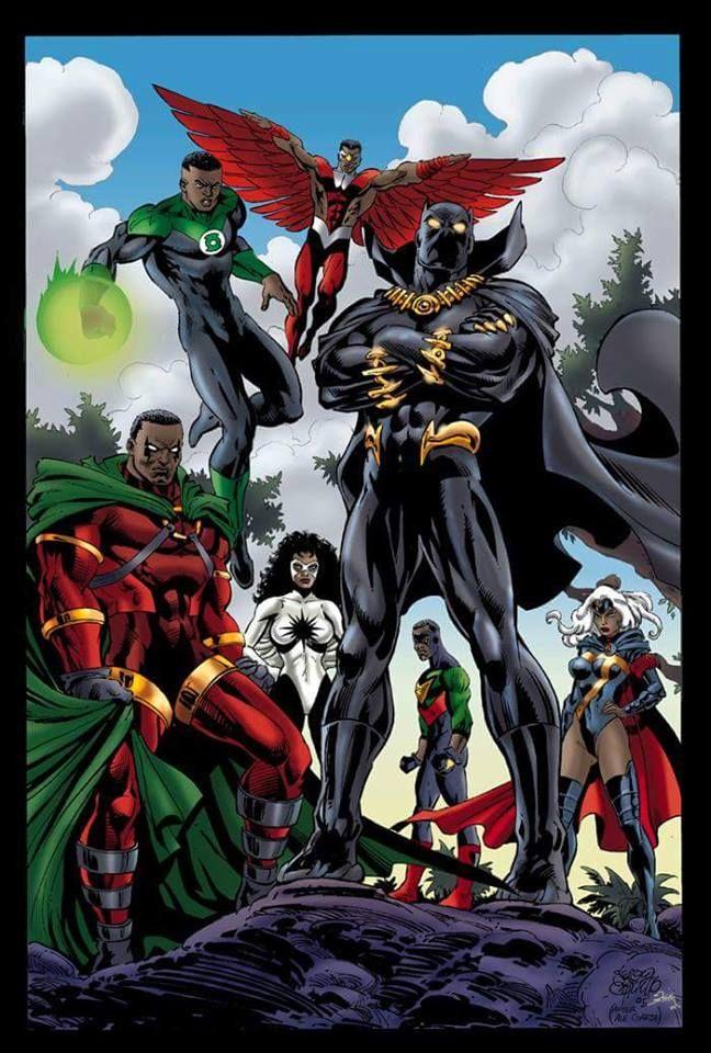 Jon Stewart (Green Lantern) Sam Wilson (Falcon) Augustus Freeman (ICON) Monica Rambeau (Captain Marvel aka Spectrum) Bill Foster (Goliath) Ororo Munroe (Storm) T'Challa (Black Panther)