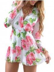 Appealing Long Sleeve Floral Printed Jumpsuits