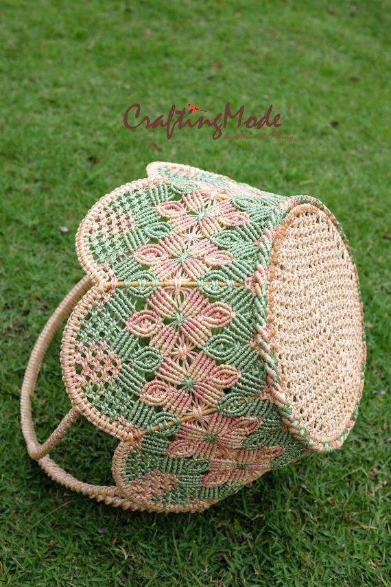 Macrame,Basket,Handmade,Flower shape,Natural,Harmony colors,Dirty Pink,Nude&Jade…