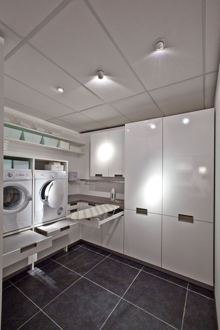 contemporary laundry room white and grey