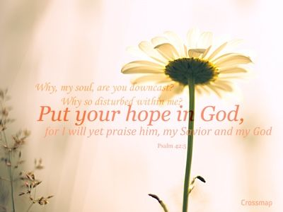 Psalm 42:5 NKJV  Why are you cast down, O my soul? And why are you disquieted within me? Hope in God, for I shall yet praise Him For the help of His countenance.