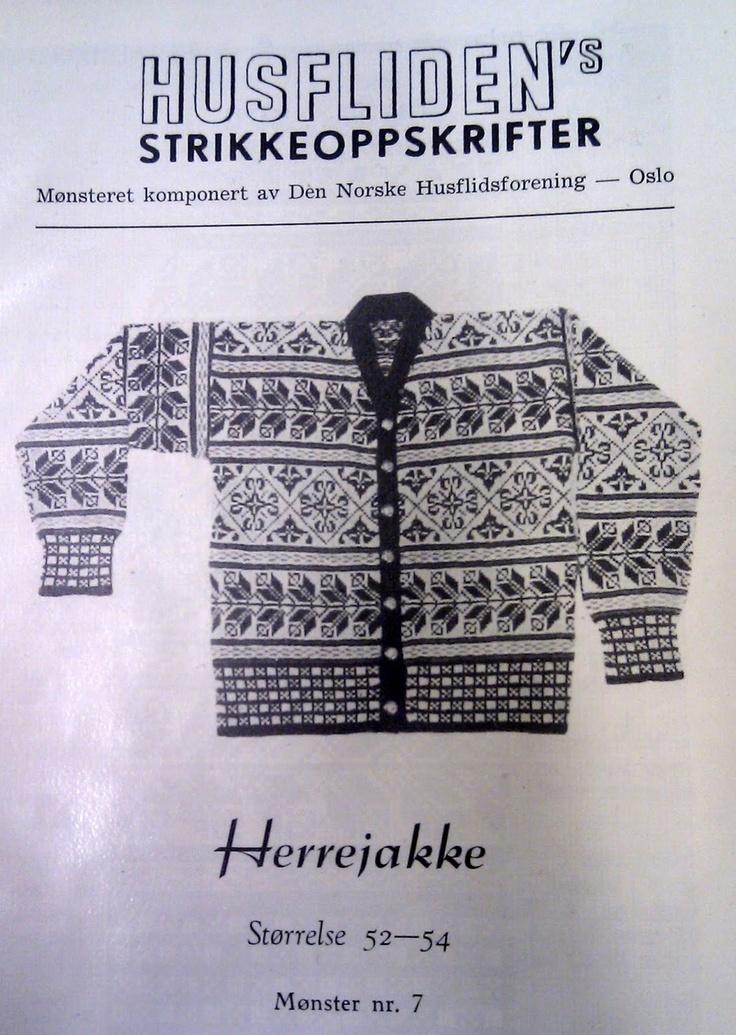 Herrejakke, nr 7 Uttegnet etter Selbumønster i 1923 av Arthur Gustavsen.