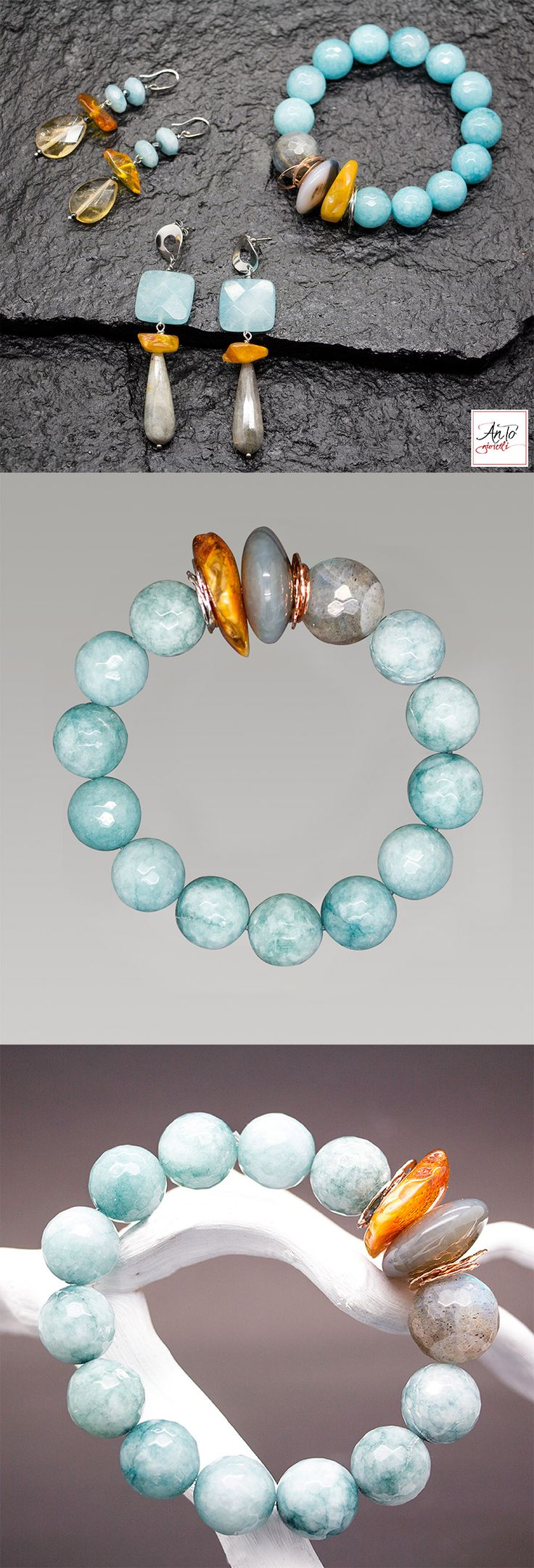 Bracelet: 49€ - Shipping free!!! Handmade in Italy. Beautiful light blue bracelet, with blue Jade stone and yellow Amber. Details Silver 925, without Nichel. Buy it on our website: http://www.antogioielli.it/50-azzurro-blu