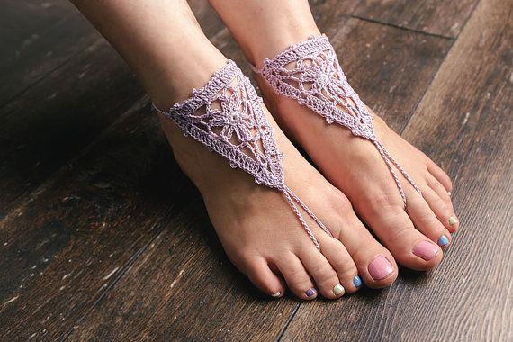 light purple crochet barefoot sandals