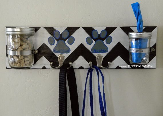 Chevron Print Dog Leash Holder with Treat Jar and Poop Bag Dispenser by 4UGIFTSONLINE