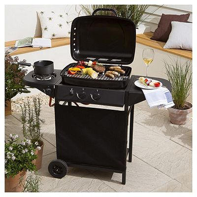 Tesco 2 Burner Gas BBQ with Side Burner Black